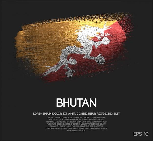 ブータンフラグはキラキラ輝きのブラシペイントベクトルで作られた