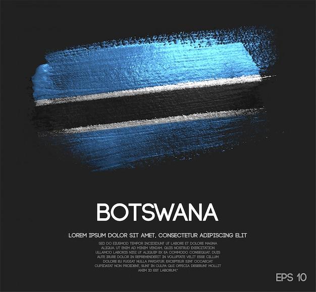 キラキラした輝きのブラシペイントベクトルで作られたボツワナの旗