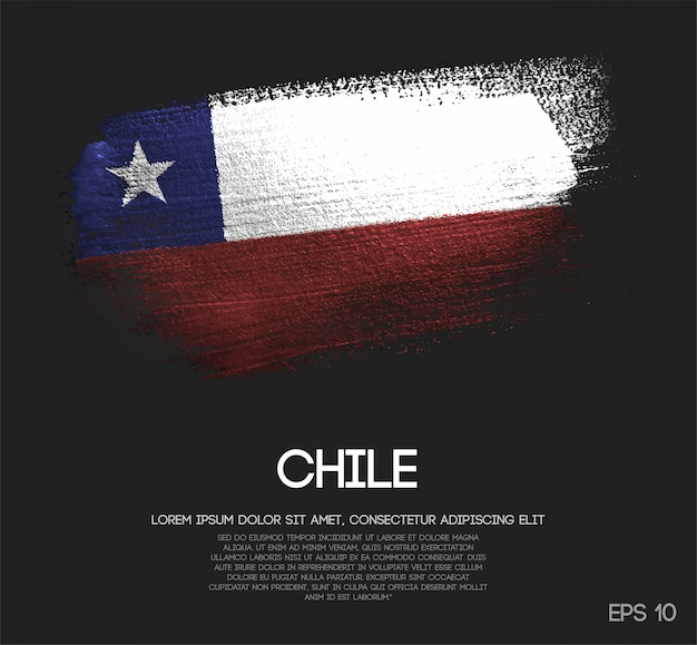 キラキラ輝きのブラシペイントで作られたチリの旗