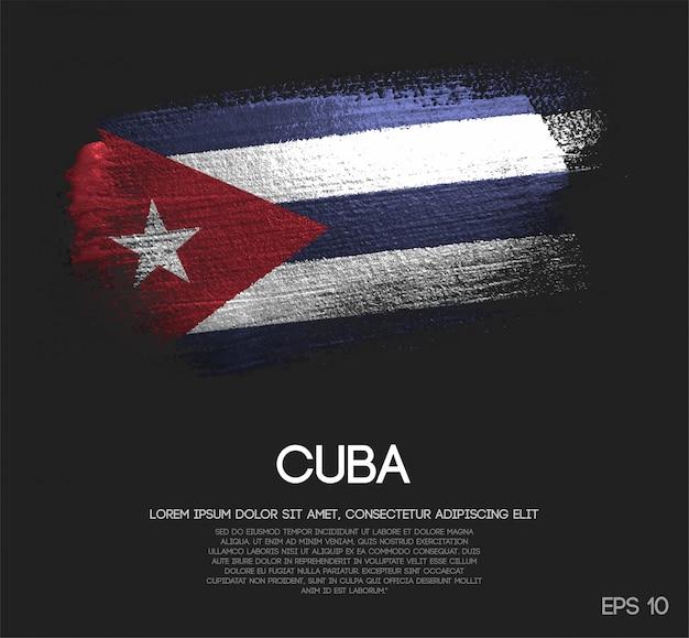 キラキラ輝きのブラシペイントで作られたキューバの旗