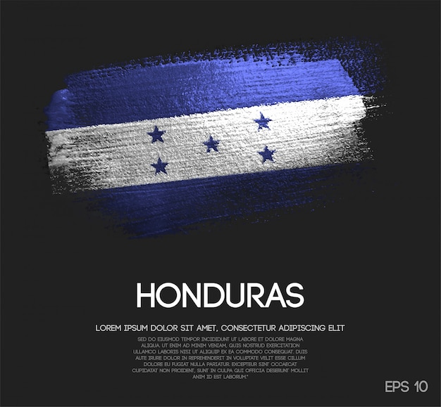 ホンジュラスの旗はキラキラの輝きのブラシペイントで作られた