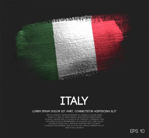 キラキラ輝きのブラシペイントで作られたイタリアの旗