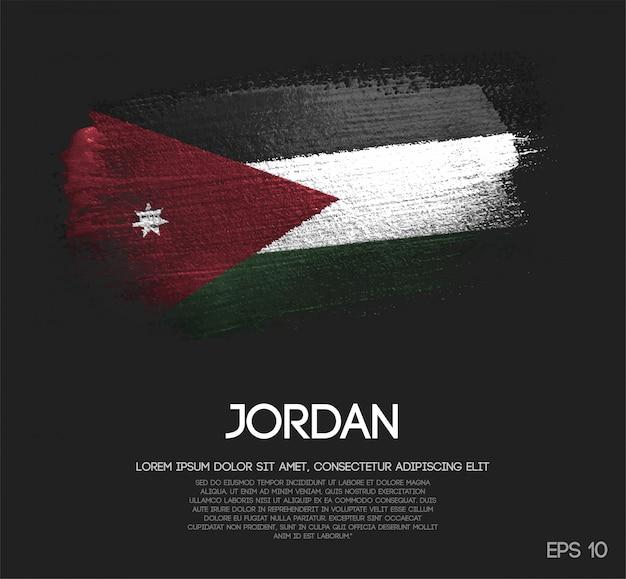ヨルダンの旗が輝きの輝きのブラシペイントで作られた