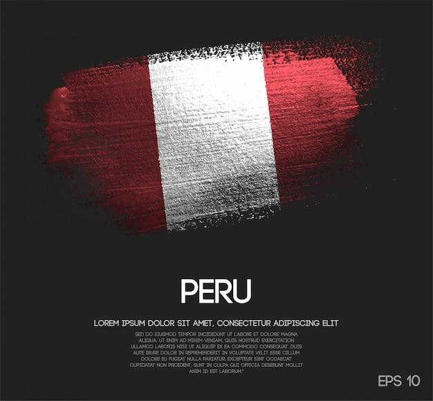 ペルーの旗がキラキラ輝きのブラシペイントで作られた