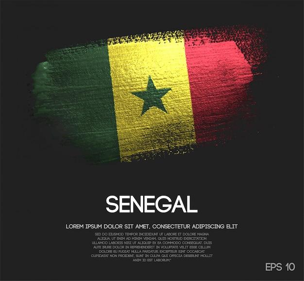 グリッタースパークルブラシペイントで作られたセネガルの旗