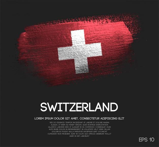 キラキラした輝きのブラシペイントで作られたスイスの国旗
