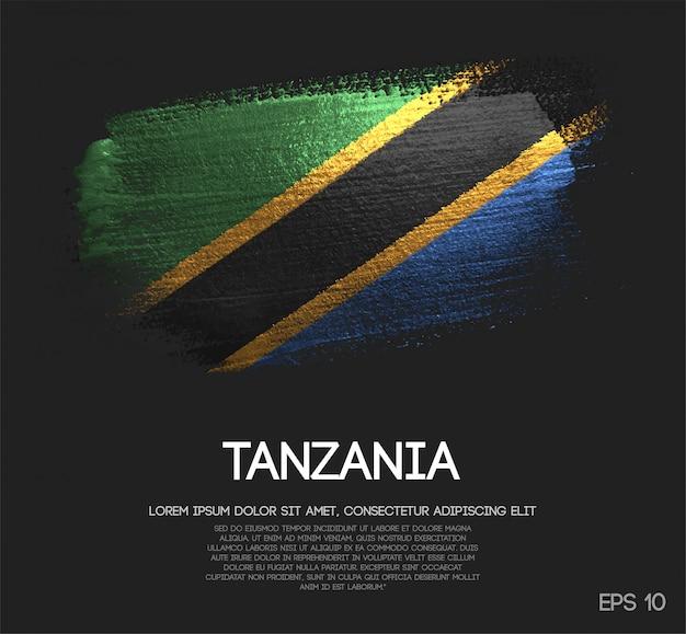 キラキラした輝きのブラシペイントで作られたタンザニアの旗