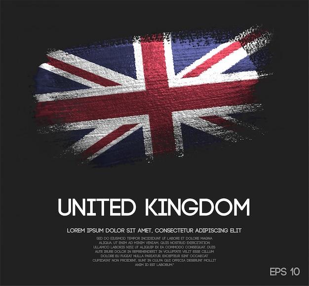 キラキラ輝きのブラシペイントで作られたイギリスの旗