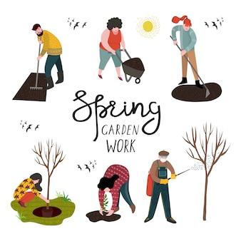 Набор изолированных людей, работающих в саду над посадкой, освоением земли и обработкой деревьев от вредителей.