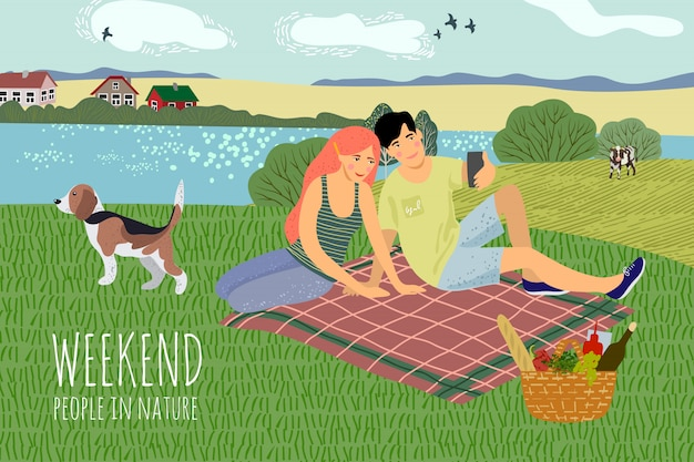 Парень и девушка отдыхают на природе