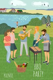 Мужчины и женщины отдыхают на лугу на фоне сельского пейзажа