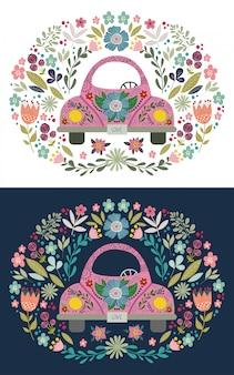 手描きの花の要素とパターンを持つピンクのかわいい漫画の車。落書き民俗フラット、ベクトル