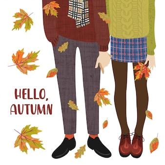 Векторная иллюстрация пару подростков и падающих осенних листьев