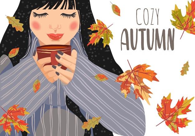 Горизонтальные векторные иллюстрации женщины с чашкой чая и падающих листьев на белом фоне.