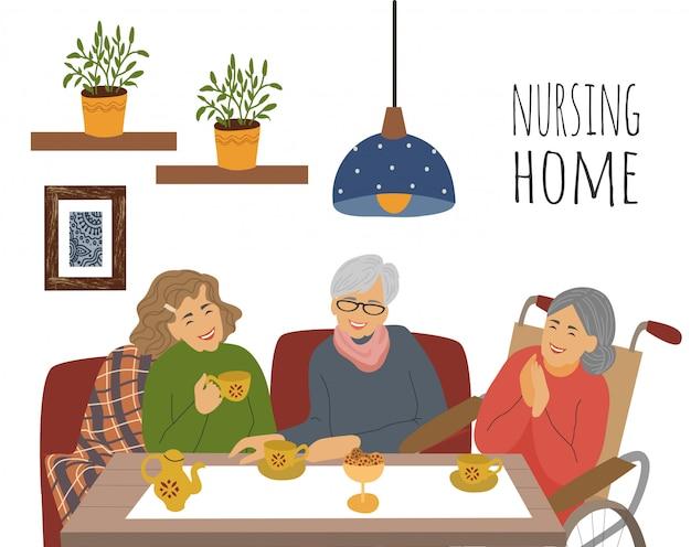Пожилая пожилая женщина на чаепитии