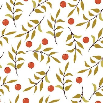 秋のシームレスなパターン。葉と白い背景の上の果実を持つフォレストブランチ。
