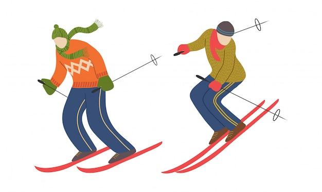 スキーヤーキャラクターのセット。男のスキー。下り坂の選手。ベクター