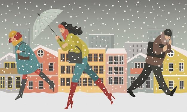 街の雪の中を歩いて、男性と女性の都市の現代概念図の人々を歩く