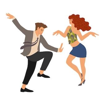 Пара танцует поворот. люди в танце. симпатичные вектор плоская рука рисовать изолированных иллюстрация