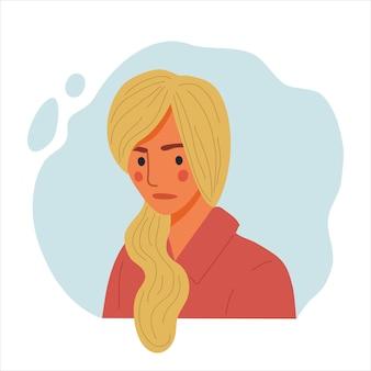 感情的な女性の肖像画、悲しい少女、幸せな女性の顔と肩のアバターの手描きフラットデザインコンセプトイラスト。
