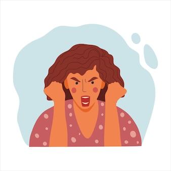 女性の感情的な肖像画、怒っている女の子、女性の顔、握りこぶしのアバターの手描きフラットデザインコンセプトイラスト。