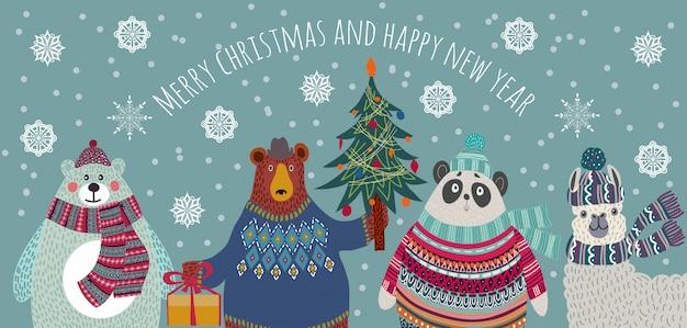 Медведь, белый медведь, панда и лама в зимней одежде рождественское приветствие