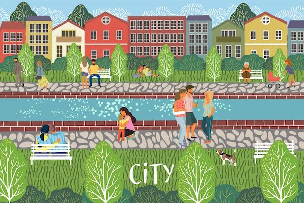 散歩イラストを持つ人々と川の遊歩道