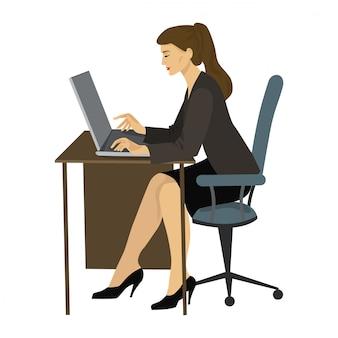 テーブルでラップトップで働く女性