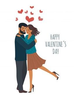 心と恋にカップルを抱き締めます。