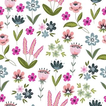 手描きの落書きの花と葉とのシームレスなパターン