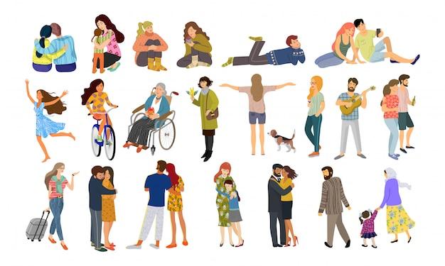 Большая группа мужчин и женщин в разных обстоятельствах.