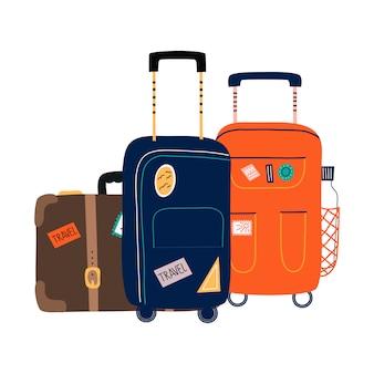 ホイール付きスーツケースのセット。