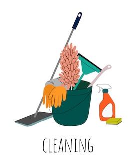 Услуги по уборке различного оборудования и чистящих инструментов.