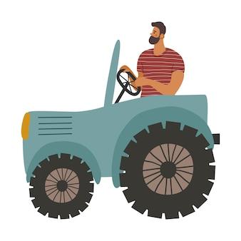 トラクターとその中の男。農夫は土地を耕します。