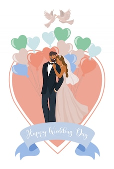 新婚夫婦、風船、ハートとハトのペア