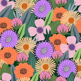 かわいい落書き花のシームレスパターン