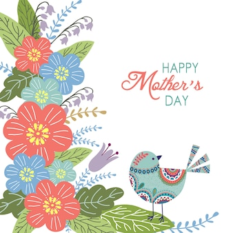 花と幸せな母の日の背景