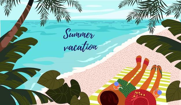 夏休み。かわいい水平カードまたは熱帯のビーチで休んでいるカップルのイラストポスター