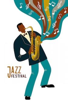 Изолированные черный человек играет саксофон мультипликационный персонаж и заметки, плоский вектор каракули