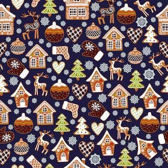 ジンジャーブレッドクッキーと冬のシームレスパターン。休日の背景。