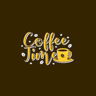 コーヒータイムタイポグラフィイラスト