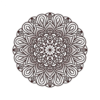 輪郭の花の曼荼羅の背景