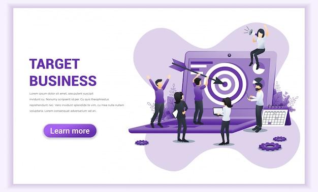 ターゲットビジネスコンセプトデザイン。巨大なラップトップ上のターゲットボードを狙った矢を持つ男。目標、目標達成に到達します。フラットのベクトル図