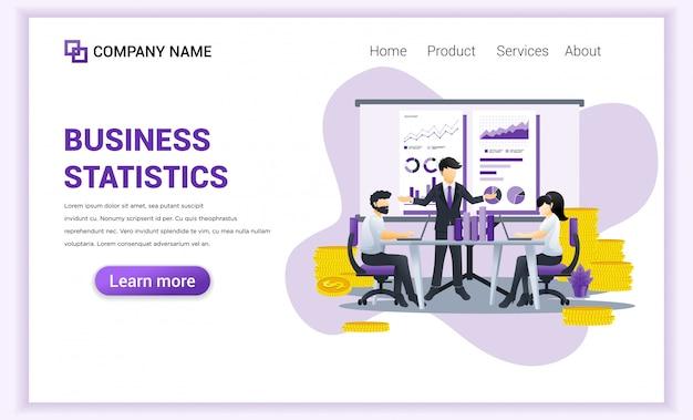 ビジネス会議の財務報告と分析の人々とビジネス統計の概念