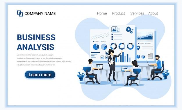 Концепция бизнес-анализа с персонажами. аудит, финансовый консалтинг. можно использовать для веб-баннера, целевой страницы, веб-шаблона. плоская иллюстрация