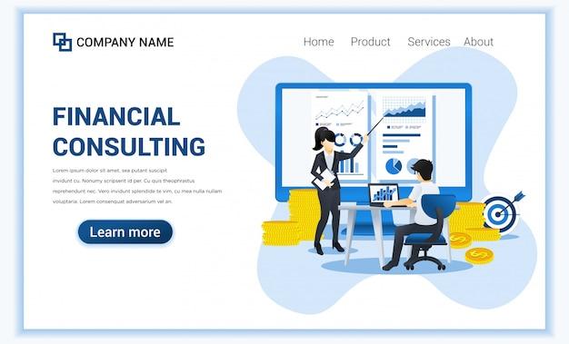 金融コンサルティングのコンセプト。画面にデータと財務報告を提示するコンサルタント。フラット図