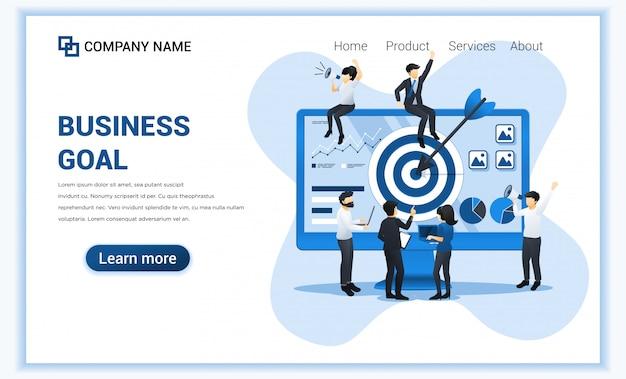 事業コンセプト。ターゲットビジネスに到達するための矢印を使用して、画面ターゲットで一緒に作業している人々。