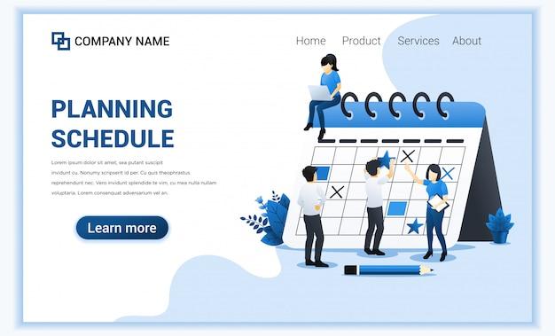 巨大なカレンダーにスケジュールを記入して立っている男性との計画スケジュール、進行中の作業。