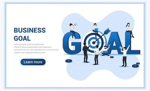 ビジネス目標設計。人々は大きな目標シンボルの近くで働きます。矢印の付いたターゲット、ターゲットに到達、目標達成。フラット図