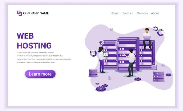 Услуги веб-хостинга, хранение базы данных, целевая страница центра обработки данных